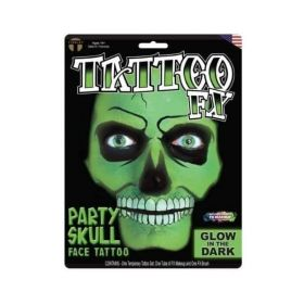 Tinsley Glow In The Dark Party Skull Face Tattoo